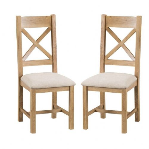 Chelmsford Oak Cross Back Chair With Upholstered Pad